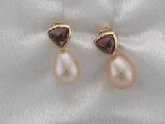 Chinese Fresh water pearls, 14kt yg, Rhodolite garnet cabs 4.18.14