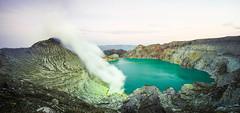 Panoramic View of Kawah Ijen (BoXed_FisH) Tags: travel panorama lake nature sunrise indonesia landscape volcano java smoke sony voigtlander sulphur colorskopar banyuwangi sonya7