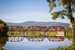 Allegheny River (EllieJanie Maybelline) Tags: traintrestle trestle reflection water river alleghenyriver warren pa pennsylvania canon7d canon18200mm