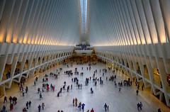 Oculus in New York (` Toshio ') Tags: toshio oculus worldtradecentertransportationhub oneworldtradecenter newyork nyc newyorkcity architecture interior people light america usa fujixe2 xe2 path trainstation