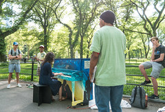 Piano Player (UrbanphotoZ) Tags: piano painted centralpark singforhope player woman listeners men lawn trees manhattan newyorkcity newyork nyc ny