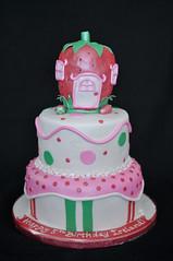 Strawberry Shortcake (Sweet Icing Bakeshop) Tags: pink red white green cake strawberryshortcake fondant