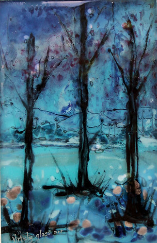 Autumn trees- fused glass painting by virtuly art in glass