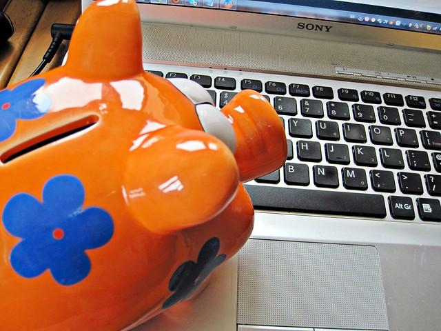 Piggy Bank Looking at Laptop
