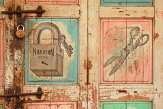 Snip & Lock (Meanest Indian) Tags: door india graphic lock scissors gujarat ahmedabad typographic