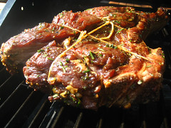 Rib of beef on the grill