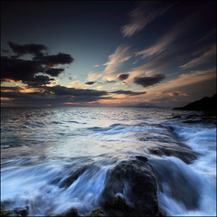 Atlantic Swell (angus clyne) Tags: world ocean uk blue sunset red sea summer cloud sun lighthouse seascape west reflection art home wet water rock stone night clouds print landscape island hope evening coast scotland boat highlands fishing europe long exposure ship time harbour angus cras