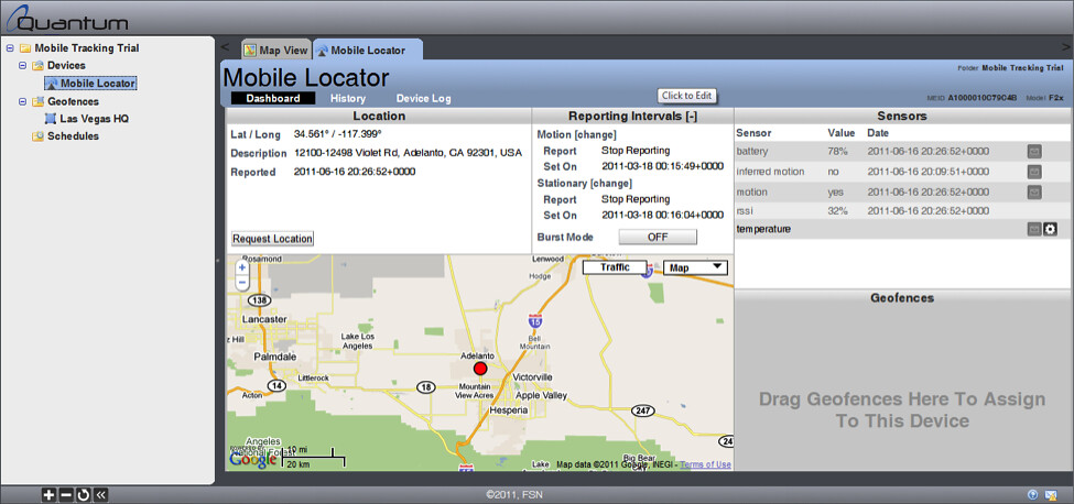 Real Time Mobile Tracking Software - Refresh Rate Dashboard