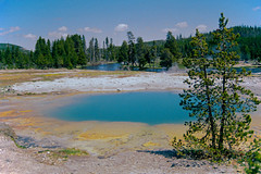 Biscuit Basin (bhophotos) Tags: travel usa film nature 35mm river landscape geotagged spring pentax steam yellowstonenationalpark yellowstone wyoming thermal ynp p3n biscuitbasin bruceoakley
