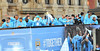 Atmosphere Manchester City Premier League Title victory parade. Players and staff of Manchester City parade the English Premier League Trophy through the city centre from an open-top bus Manchester, England
