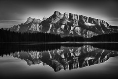 Drama at Dawn (Jeff Clow) Tags: reflection nature landscape dawn albertacanada banffnationalpark canadianrockies twojacklake