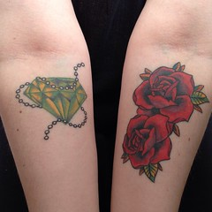 Emerald, Pearls and Roses - Two Tattoos (Eleanor Ford) Tags: roses tattoo pearls emerald selftimer rosetattoo womenwithtattoos iphone5 forearmtattoos iphoneography emeraldtattoo pearlstattoo someinkdifferent