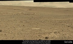 Curiosity roving from sol 634 to sol 636 (Thomas Appéré) Tags: mars msl curiosity science nature exploration rock rocher sand sable mosaic paysage panorama landscape animation gif