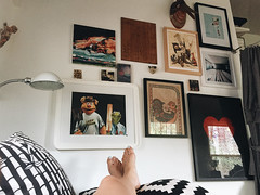 281/366 (moke076) Tags: 2016 365 366 project366 project 365project project365 oneaday photoaday vsco vscocam cell cellphone iphone mobile self selfie me portrait feet gallery wall home house design decoration art schoolhouseelectric lamp painting poster pillows bedroom interior