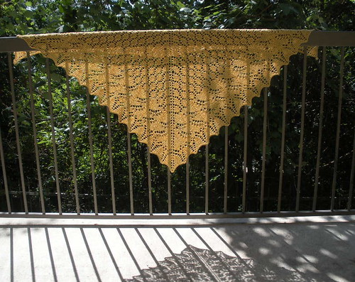 Finished Shawl on the Balcony rail