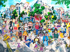 In the Streets in the Mission (West) (Todd Berman) Tags: art acrylic realestate missiondistrict collaborativeart valenciast parklet acryliconcanvas themissionsf toddberman theartdontstop sundaystreets johnbrody