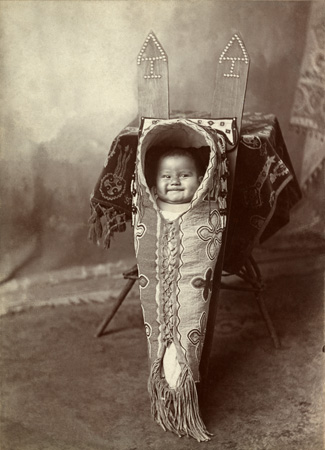 Louise Smoky, a Kiowa, in a cradle board.