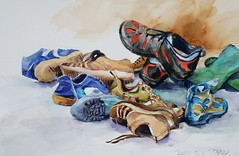 Sports shoes gathering