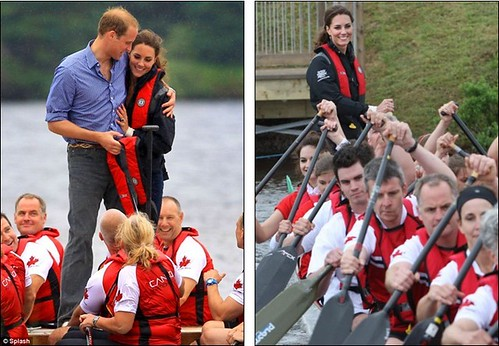 Prince William rules the waves as he beats Duchess of Cambridge in dragon boat race but despite the drizzly day Kate Middleton looks simply 30