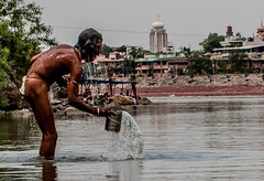Bathing in The Ganges (Lance Laurence) Tags: people india man water bathing ganges rishikesh