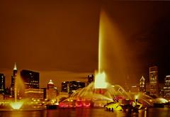 Buckingham Fountain (rhershow) Tags: longexposure urban chicago skyline cityscape nightshot wideangle citylights grantpark buckinghamfountain nikkor1224dx nikond90