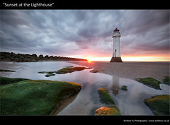 sunset at the lighthouse (awhyu) Tags: new sunset lighthouse seascape seaweed rock liverpool sand brighton fort perch wirral wirrall mudbanks