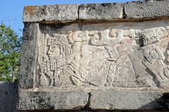 Mayan Warror Bas-relief Panel, Platform of the Eagles and the Jaguars (Oliver J Davis Photography (ollygringo)) Tags: travel heritage history archaeology stone architecture buildings mexico mesoamerica temple construction ancienthistory ancient nikon ruins maya eating stonework masonry yucatan carving unescoworldheritagesite worldheritagesite chichenitza yucatn human mayan heat civilization jaguar archeology civilisation americas mayas precolombian centralamerica worldheritage basrelief d90 yucatnpeninsula platformoftheeaglesandthejaguars plataformadeguilasyjaguares oliverdavisphotography oliverjdavisphotography