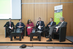 Burkhard Horn, Sebastian Schlebusch, Rehana Moosajee, Michael Gruber, Falk Heinen and Frank B. Marré on the panel