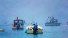 Harbor Fog (ROPhoto77) Tags: blue boats coastal fog harbor maine misty moody summer warm water wet digital art painterly