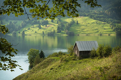 Fifty shades of green (helena678) Tags: lake water green trees leaves maple grass meadow reflections barn hills wgital switzerland schweiz