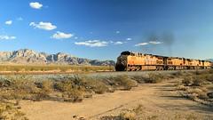 Union Pacific through Mojave (Chuck Hood - PhotosbyMCH) Tags: photosbymch landscape mountains unionpacificrailroad sky desert mojavenationalpreserve california usa canon 5dmkiii 2016 nationalparkservice unionpacific5885 unionpacific6805 unionpacific7868 unionpacific7202 outdoors summer train transportation railroad providencemountains kelso cima generalelectric dieselelectriclocomotive