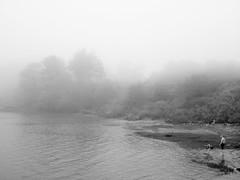 (heyjuuudith) Tags: people blackandwhite mist lake water fog landscape bay maine ethereal dreamy