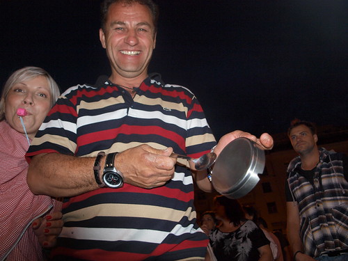 Greek protesters banging pots and pans during anti-government rally - Thessaloniki, Greece by Teacher Dude's BBQ