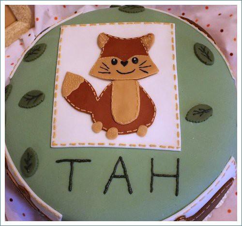 fox on cake