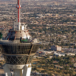 Stratosphere tower, from helicopter, Las Vegas.