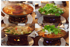 Boiling Point. (Alli Jiang) Tags: food hot dinner soup restaurant tofu steam flame dining spicy hotpot lettus 2011 boilingpoint porkblood allijiang minihotpot