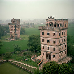 Diaolou (kenny ip) Tags: china tree 120 6x6 film rooftop field rural buildings mediumformat village kodak portra diaolou 160nc kaiping norita norita66 80mmf2 noritar kennyip