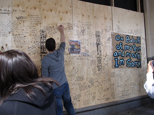 Writing Messages of Love for Vancouver After Stanley Cup Riots