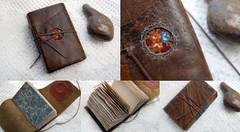 Thought Garden Journal (Bibliographica) Tags: travel brown leather vintage notebook book recycled handmade diary rustic journal craft sketchbook thoughts worn poet writer write etsy bookbinding bibliophile reclaimed teastained bookbindingteam bibliographica