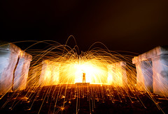 Ritual (Spectral Convergence) Tags: longexposure night fire texas tx replica sparks megalith ingram stonehengeii woolspin