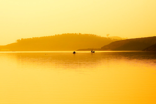 Golden dawn on Lake Da Mi by -clicking-