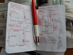 Planning with 4-color pen. (JohnnyG*) Tags: wood ikea home field apt moving apartment notes baltimore planning pens ruler journals bic notebooks 4color fieldnotes fieldnotesbrand