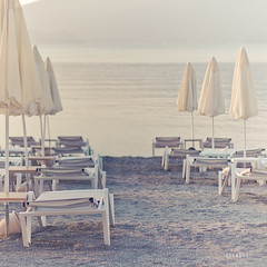 waiting ({cindy}) Tags: sea summer beach sunrise turkey sand chairs explore parasols sunbeds