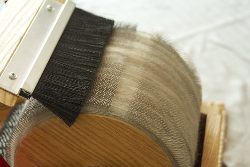 wool on the drum carder
