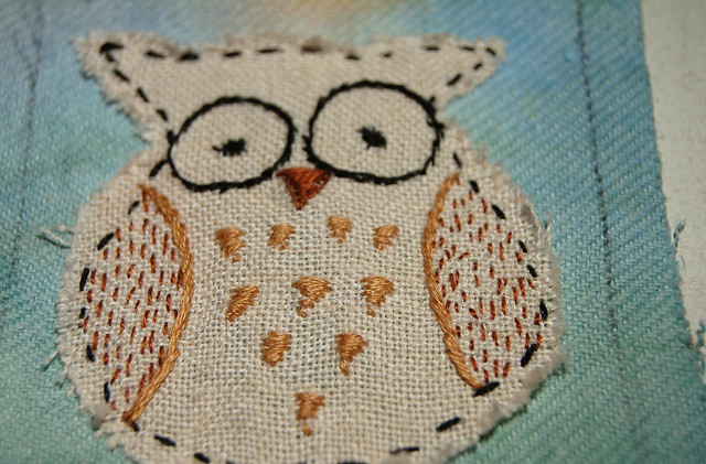 Owl Embroidery on Artist Trading Card