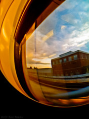 Fisheye lens and square building