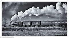 crossing....................... (4macfotography) Tags: sky tree field clouds fence landscape track smoke engine meadow railway goods steam locomotive brake van tones freight pushpull embankment exhaust gcr 30023