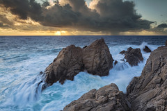 Pinnacle Fury (Willie Huang Photo) Tags: ocean sunset seascape nature landscape monterey pacific scenic bigsur carmel thunderstorm pointlobos carmelbythesea pinnaclerock pointlobosstatereserve pinnaclecove