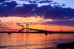 Dramatic Skies over Newport Bridge - Mike Dooley (mike_dooley) Tags: ocean bridge sunset seascape water night clouds boats rhodeisland newport sailboats newportbridge narragansettbay