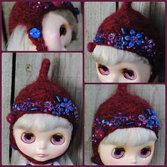 The Folklore Tonttu Helmet: Deep Purple (Euro_Trash) Tags: flowers felted purple knit website embroidered eurotrash tonttu claret deepblue feltball handmadeforblythe